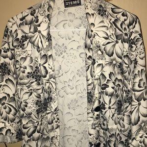 Vintage black and white floral blazer/ kimono